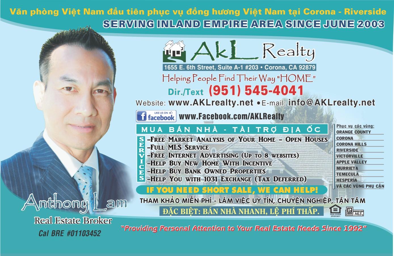AKL Realty – VP Việt Nam đầu tiên phục vụ đồng hương tại Corona – Riverside